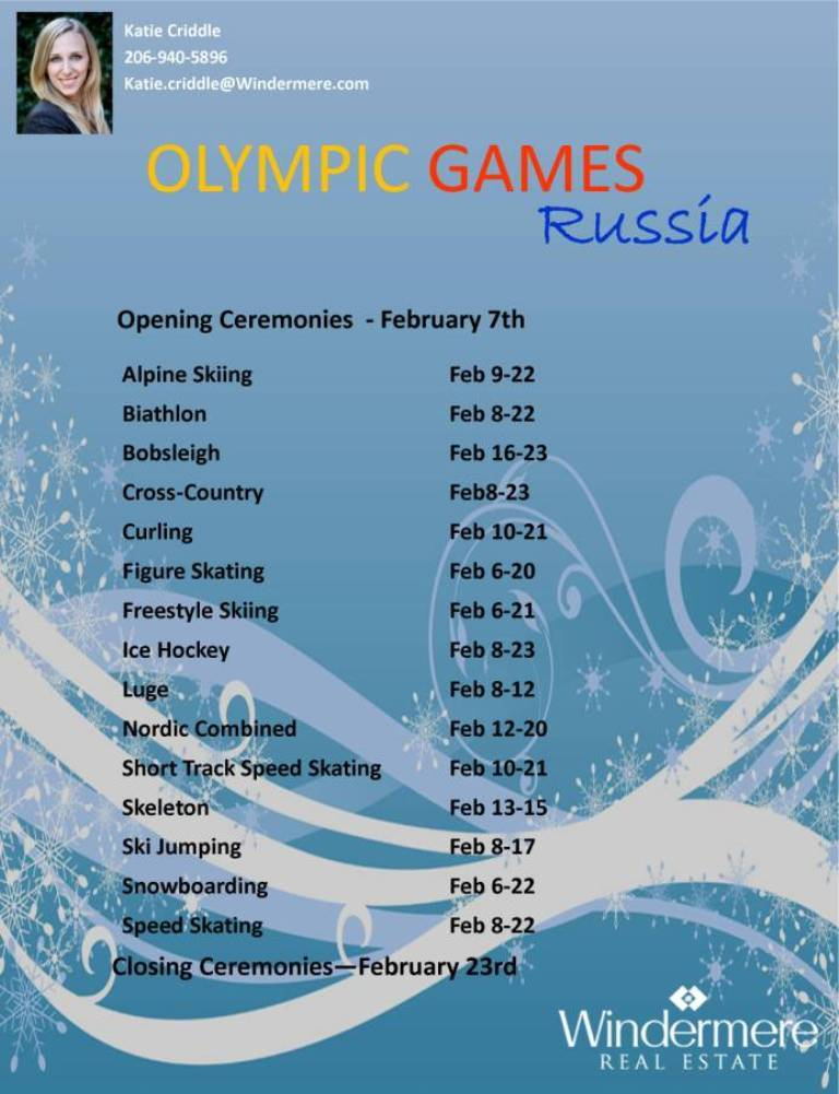 2014 Olympic Games Schedule